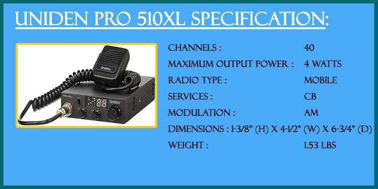 Specifications uniden pro 510xl